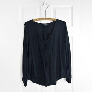Lucky Brand peasant sleeve black popover blouse XS